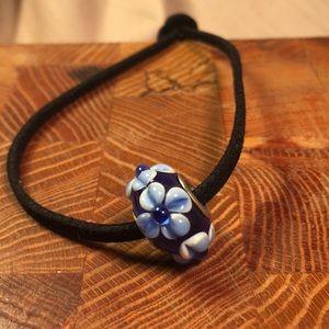 Glass bead leather bracelet